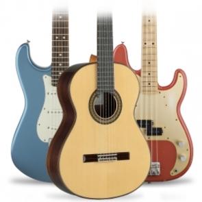 Guitarra clasica, guitarra electrica, bajo, guitarra acustica